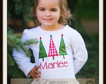 Tree Trio Christmas Shirt-Baby, Toddler, Girls  Shirt. Personalized with Name
