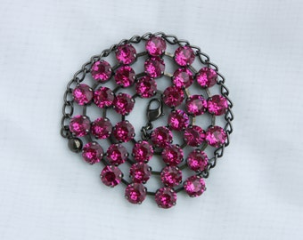 Fuchsia Pink 8mm Swarovski Crystal Necklace