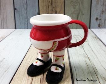La cameriera di Natale, tazza di caffè Espresso sulle gambe, unica tazza di caffè, camminare ceramiche, imprevedibile calzini, Demitasse italiano, tazza di caffè carina, regalo novità