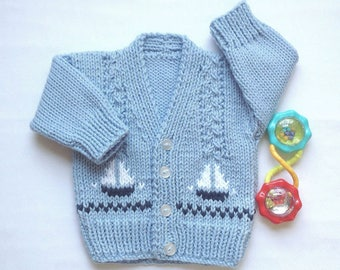 Baby boy cardigan - 0 to 6 months boy - Baby knit sweater with sailboats - New baby gift - Infant knits - Baby shower gift