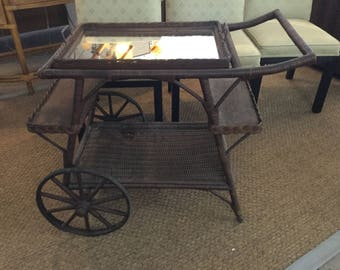 SALE Antique Wicker Tea Serving Cart