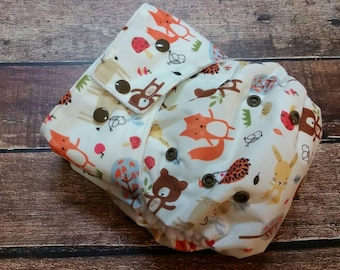 One Size Pocket Cloth Diaper Woodland Friends 15-40 lbs PUL