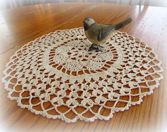 """Crochet Doily with Scalloped Shell Edge in Ecru/Natural--13-1/2"""" --Free Shipping"""