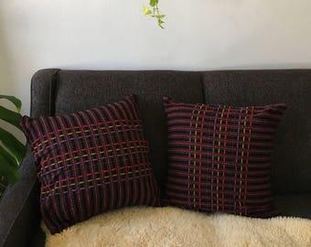 set of boho embroidered pillow. turkish ikat boho aztec tribal geometric throw pillow. mid century tribal hmong bohemian pillow.