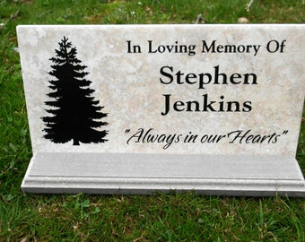 "Tree Dedication/memorial plaque. Maintenance Free 12""x6""x3/8""  Weathered Italian Porcelain Stone Tile"