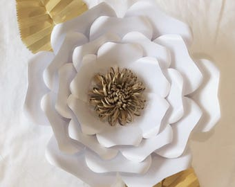 Paper Flower White Large With Leaves Home Nursery Decor