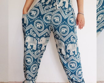 Thai harem pants Turquoise-white - Lapin.DIY