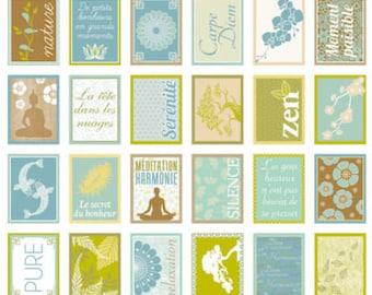 Stickers decorative stamp - Pure zen carpe diem happiness - 3.3 x 2.7 cm - 64 pcs