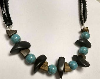 Adjustable Turquoise and black ribbon necklace...