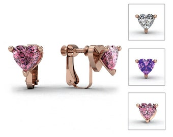 EVBEA Rose Gold Heart Stud Screw Back Earrings with Three Pairs of Interchangeable CZ Stones