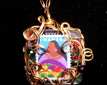 Kwanzaa Stamp Brass Wire Wrapped Pendant