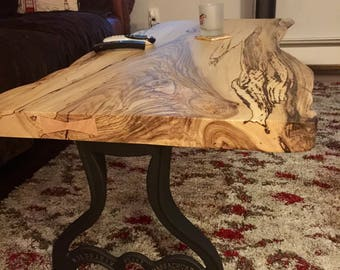 SOLD**  Reclaimed Spalted Sinker Maple Live Edge Slab Coffee Table