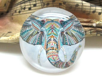 1 cabochon 25 mm glass Tribal Elephant - 25 mm