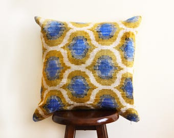"Kavala Handwoven Ikat/Velvet Cushion 20"" Square - Free shipping USA!"