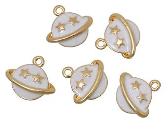 """5 charms """"Star/planet"""" in gold tone metal with enamel 1.4 cm"""