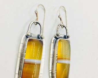 Sterling silver and yellow agate onyx earrings. Lisa Colby metalsmith