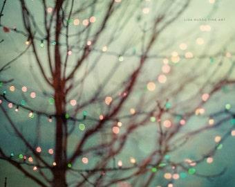 Pastel Holiday Print or Canvas Art, Teal Aqua Mint, Pastel Holiday Lights, Abstract Holiday Print, Christmas Lights, Square.