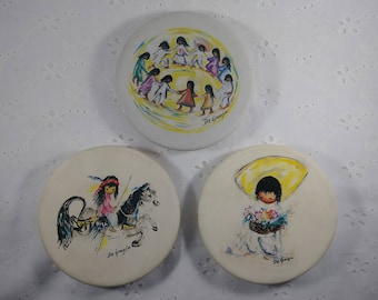 Vintage DeGrazia Stoneware Coaster Set - Replicas of Mid Century Paintings