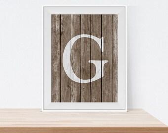 Monogram Wall Art - Housewarming Gift - Rustic Monogram Print - Monogram G - Letter Wall Art - Custom Letter Decor -  Gift Idea - Art Print