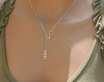 Dainty Lariat Necklace, Silver Y Necklace, Heart Necklace, Customized Necklace, Sterling Silver Lariat, Mothers Gift, Gift for Her