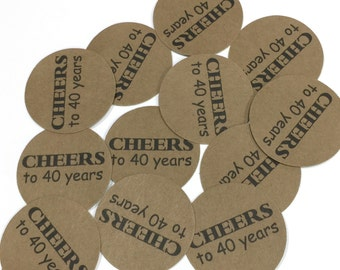 40th Birthday Stickers - Cheers to 40 Years - Round 1 1/2 Inch, Set of 12