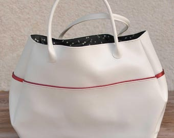Sparkly red and white tote bag
