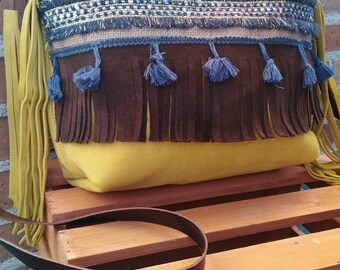 Leather yellow Boho Fringe handbag