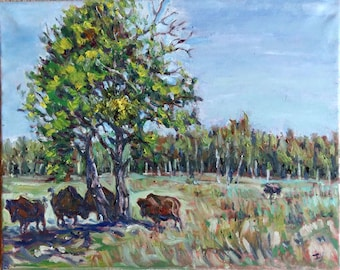 "Original Oil Painting, A Sunny Day- Canada BC landscape, 16""x20"", 1610141"