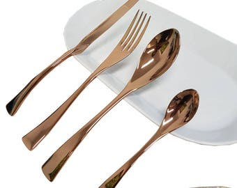 Rose gold Stainless Steel Cutlery Set consisting of a Fork, a Knife, a Spoon & a Teaspoon, 1 service