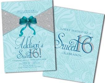 Glitter Sweet 16 Party Invitation
