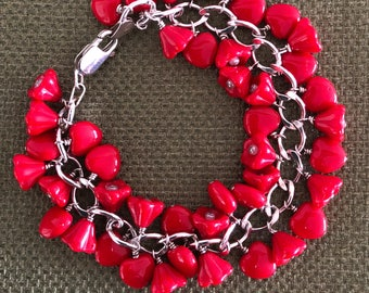 Lovely Hearts and Flowers on Sterling Silver Bracelet