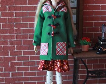 Toggle Coat for Momoko doll, fits Unoa Quluts light, Pullip, Obitsu, j-doll, Barbie,