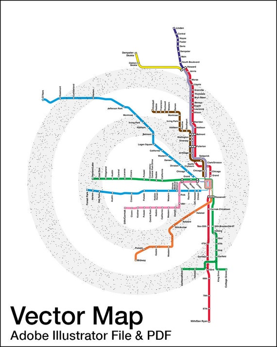 INSTANT DOWNLOAD Vector Map Chicago CTA Map Adobe