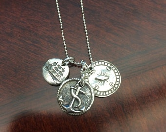 Sail Away Trio Sterling and Reclaimed Fine Silver Anchor, Ship and  Compass Necklace