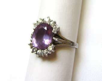 Sterling Silver Amethyst Ring With Cubic Zirconia. Size 7