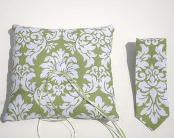 Ringbearer Pillow and Tie Set - Modern Wedding Ring Bearer Set - Avocado Green Damask