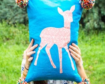 Little deer silhouette pillow cover, fawn silhouette, pet silhouette, custom pillow, handmade whimsical decor