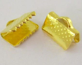 Gold 10 10 mm crimps for ribbons