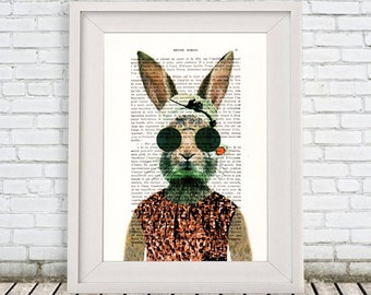 Rabbit Poster, vintage rabbit illustration, Bunny Print, bunny art, rabbit digital art, rabbit print by Coco de Paris
