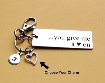 Personalized Funny Key Chain You Give Me A <3 On Stainless Steel Customized with Your Charm & Initial - K858