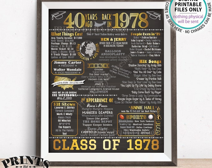 "40 Year Reunion Class of 1978 Reunion Back in 1978 Flashback to 1978 40 Years Ago, Gold, PRINTABLE 8x10/16x20"" Chalkboard Style Sign <ID>"