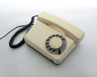 Vintage creamy / white rotary telephone 70s, Table vintage telephone, Fathers day gift