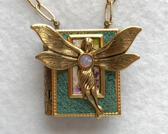 Book Necklace, fairy necklace, faerie pendant, art nouveau faerie, gift for writer, metal book, Wiccan jewelry, fairy lover, book club gift