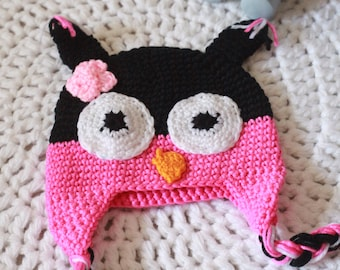 Cute owl hat for baby girl.  Handmade Winter hat. Crochet baby hat