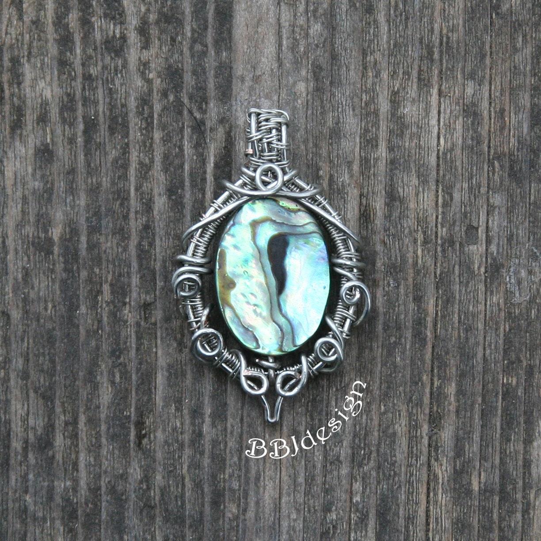 Paua Muschel Anhänger Halskette grün blau Stahl Silber Abalone