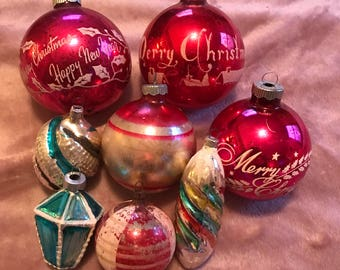 Vintage glass Christmas ornaments mica stencil lot of 8