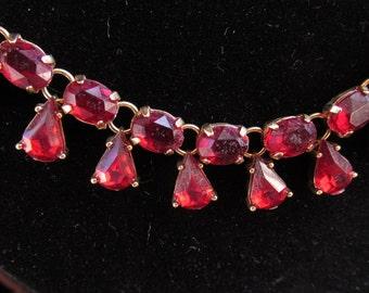 Red Rhinestone Necklace Designer Nina Ricci for Avon.
