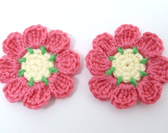 Crochet applique, crochet flowers, 2 pink applique flowers, cardmaking, scrapbooking, appliques, handmade, sew on patches embellishments
