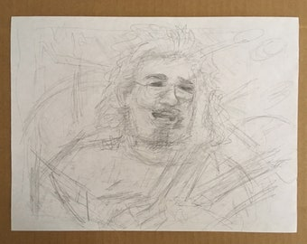 Guitarist Jerry Garcia Grateful Dead Original Pencil Sketch Drawing