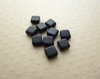 Set of 10 beads square 6 mm Jet - CBPC6 1185